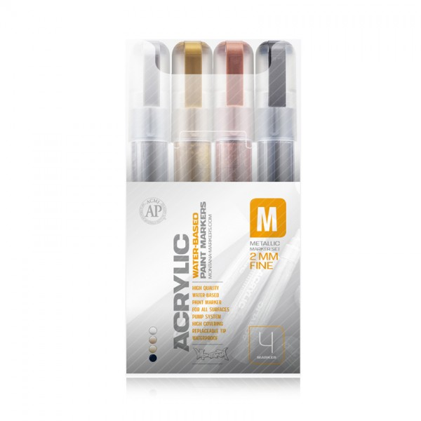 Montana ACRYLIC Marker Set 2mm 4er Metallic Fine